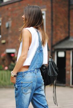 midriff-baring jean overalls