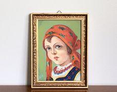 Small Vintage Portrait Oil Painting Polish Village by ModRendition