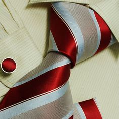 Indian red stripes silk ties for men Red mens gifts formalwear silk necktie cuff links Hanky set H6023 $29.99