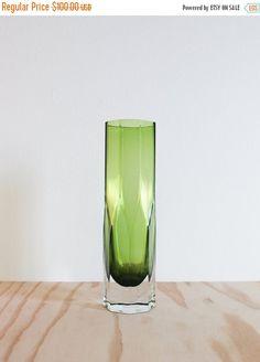 SALE Gunnar Ander Lindshammar Sweden Green Glass Vase