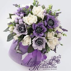 "КОНФЕТНЫЙ  БУКЕТ""  ЛАВАНДОВЫЙ ЭТЮД"" тел. +7(913)911 42 16… Paper Flower Art, Paper Flowers, Flower Boxes, Flower Cards, Paper Bouquet, Crepe Paper, Flower Making, Floral Arrangements, Centerpieces"