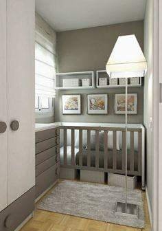 Trend babyzimmer design grau wei wandregale lampe
