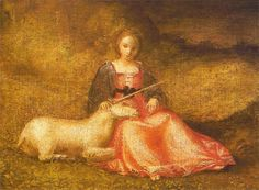 Giorgione : Allegory of chastity - Lady with unicorn, 1500 Amsterdam, Rijksmuseum Unicorn Painting, Unicorn Art, Unicorn Memes, Amsterdam, Etiquette Vintage, Fine Art Prints, Canvas Prints, High Renaissance, Art Vintage