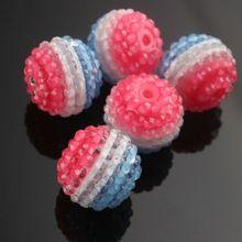 Transparente claro strass listrado 50 Pcs 22 mm resina Gumball Chunky Beads para colar fazer(China (Mainland))