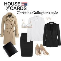 """Dressing like a French woman! """"House Of Cards Christina Gallagher's style"""" by tvdressing on Polyvore"""