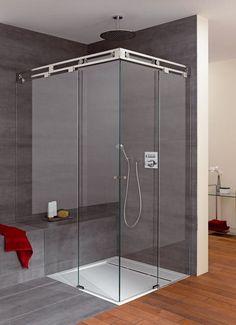 glazen douchecabine voorzien van een luxe schuifsysteem | vidre glastoepassingen | badkamer inspiratie