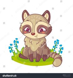 Cute little raccoon sitting on grass with flowers in cartoon style. Vector illustration for kids.