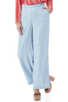 High waistedtencel palazzo pants with side pockets and a zipper closure. Skylee Pants by BB Dakota. Clothing - Bottoms - Jeans & Denim - Flare & Wide Leg Iowa