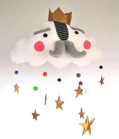 The Cloud King Mobile Fun Bright Colorful And Star Studded For Modern Nursery