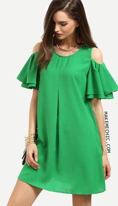 Green Cold Shoulder Ruffle Sleeve Shift Dress