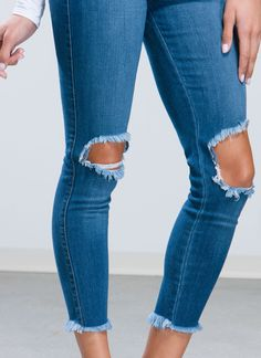 Take A Knee Cut-Out Jeans BLACK BLUE - GoJane.com