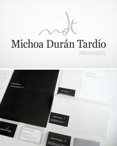 MICHOA DURÁN TARDÍO (Bufete de abogados). Diseño de identidad visual corporativa: logotipo y papelería.