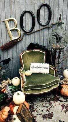 Spooky room, I like the broom, green velvet, giant BOO, etc