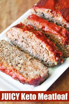 Keto Meatloaf It's the perfect keto meatloaf! Almond flour and parmesan add flavor and keep the juices in. The glaze is made with unsweetened ketchup.It's the perfect keto meatloaf! Almond flour and parmesan add flavor and keep the juices in. The glaze is Keto Foods, Keto Diet Drinks, Keto Food List, Healthy Food Blogs, Diet Menu, Keto Snacks, Keto Meal, Healthy Cooking, Healthy Foods