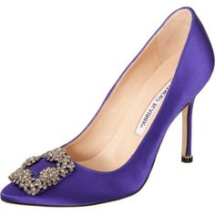 Manolo Blahnik Satin pointed toe pump Purple