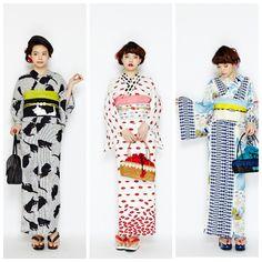 yukata by ふりふ Yukata Kimono, Kimono Japan, Japanese Kimono, Traditional Kimono, Traditional Outfits, Japan Fashion, Kawaii Fashion, Kimono Fashion, Fashion Outfits