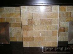 Honey Onyx subway pattern polished; backsplash grout is desert bloom, an off white color.