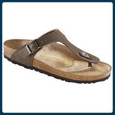 Birkenstock Sandale Gizeh Birko-Flor Nubuk schmal Damen mocha (043753), 41, braun - Sandalen für frauen (*Partner-Link)