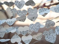 Wedding Garland  Paper hearts from vintage dictionary 10 yards  by caitlinwilhelm, $15.00