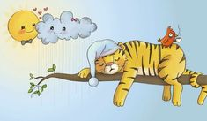 Brenda Figueroa Illustration - brenda, brenda figuera, commercial, digital, comics, picture books, hand drawn, paint, coloured, fiction, sweet, young, sleeping, snoozing, resting, suns, smiling, sleepy, clouds, heart, love hearts, trees, branches, night cap, hat, tigers, animals, wild,