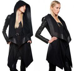 Skingraft - hooded wool coat, in black wool/leather, $925