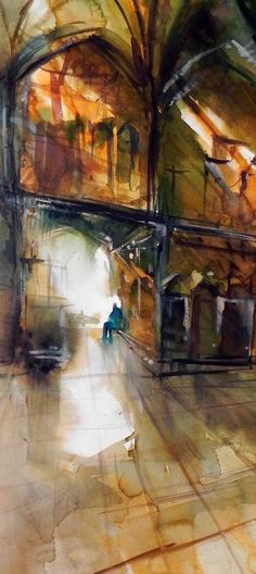 "There is a moon...  There's a moon inside every human being.  Learn to be companions with it.    Timche malek (Malek arcade)  ""Timche malek"" is a covered market in Isfahan grand bazar.    Watercolor painting  Size: 55-24 Cm  Artist: Behzad Bagheri"