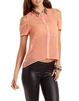 Open Back Scalloped Lace Top: Charlotte Russe