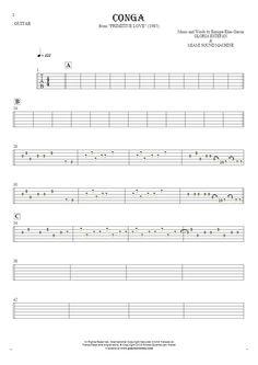 Conga sheet music by Gloria Estefan & Miami Sound Machine. From album Primitive Love (1985). Part: Tablature for guitar.