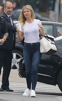Hola: Make-up free Gwyneth Paltrow, 44, took some time out of filming an advert for designer Tous to soak up the sights of Barcelona on Wednesday