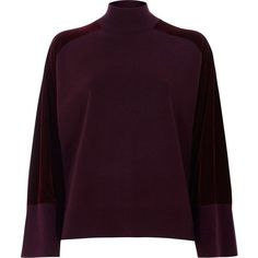 River Island Burgundy velvet sleeve high neck knit sweater ($100) ❤ liked on Polyvore featuring tops, sweaters, jumpers, knitwear, women, velvet sweater, burgundy long sweater, purple knit sweater, longer sweater and velvet jumper