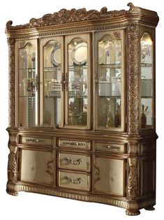 $1,985.60 Acme Vendome Buffet and Hutch in Gold Patina 63005 SPECIAL