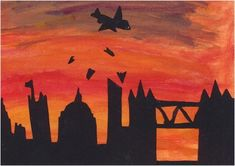 Art - World War 2 pictures - Year 5 St George's Seville World History Map, World History Projects, World History Classroom, World War 2 Display, Great Fire Of London, Contemporary History, The Blitz, Silhouette Art, World War Two