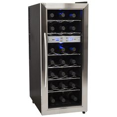 Buy the EdgeStar Stainless Steel Direct. Shop for the EdgeStar Stainless Steel 21 Bottle Free Standing Dual Zone Wine Cooler and save. Wine Refrigerator, Wine Fridge, Thermoelectric Cooling, Cooler Reviews, Wine Chiller, Wine Coolers, Blue Led Lights, In Vino Veritas, Italian Wine