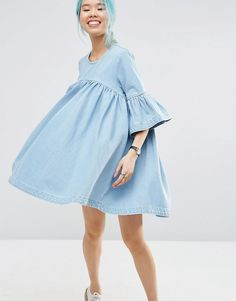 Image 1 ofASOS WHITE Extreme Frill Denim Dress