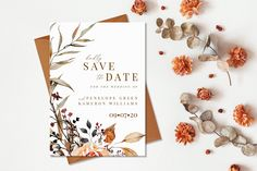 Save The Date Invitations, Floral Wedding Invitations, Save The Date Cards, Shower Invitations, Invitation Cards, The Knot Wedding Website, Minted Wedding Website, Wedding Table, Fall Wedding