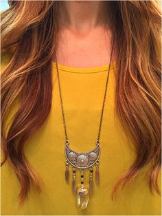 crystal gypsy stone and feather necklace - elladolce