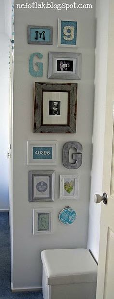 skinny wall idea- monogram mixed in w/ framed prints and birthdate