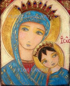 Our Lady of Perpetual Help III -  Print from Painting by FLOR LARIOS (6 x 8 inches) via Etsy