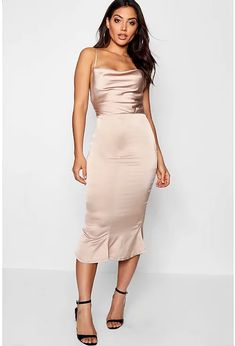 Womens Champagne Satin Cowl Neck Lace Up Fish Tail Midi Dress Satin Midi Dress, Satin Dresses, Dress Up, Bodycon Dress, Bodycon Fashion, Fashion Dresses, Spring Formal Dresses, Long Dresses, Women's Dresses