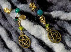AUTUMN SALE Pair 2 pieces Pentagram Dread by NVCL3ARBVTT3RFLY  #pentagrambeads #paganbeads #paganjewelry #wiccanjewelry #dreadbeads #dreadlockbeads #fairydreads #elfdreads