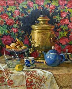 Painting with samovar.....would love to find a print of this painting...the colours are rich