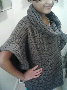 Beautiful Crochet Cowl Poncho Top