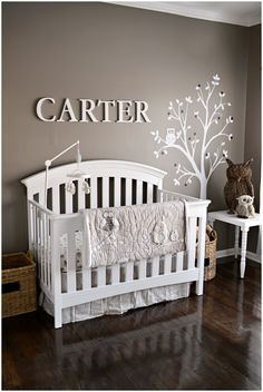 This #greige #nursery is such a soothing color!  #treedecal #owl #white #gray so cute!