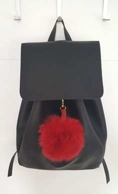 Red Fluffy real Fox Fur Pom Pom very easy to attach by lefushop Pom Pom Purse, Fur Pom Pom, Pom Poms, Red Fur, Fur Bag, Red Purses, Red Bags, Winter Accessories, Leather Backpack