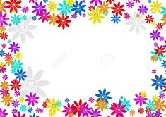 Colourful Decorative Cartoon Floral Flower Frame Border Design ...