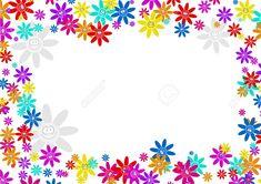 Colourful Decorative Cartoon Floral Flower Frame Border Design ...
