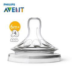 AVENT 2pcs 4 Holes BPA Free Natural Fast Flow Nipples