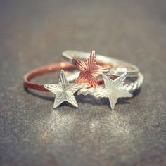 Stacking Star Rings - Set of 3 #rings #star #jewelry  9thelm.com