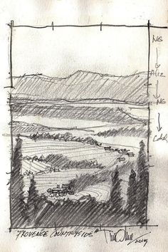 """Provence Countryside"" -sketch by Tim Oliver Pencil ~ 8"" x 5"""