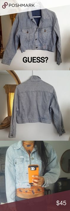 Vintage Crop Guess Denim Jacket Jean M / L Adorable cropped guess Jean jacket with an unusual houndstooth print.  80s or early 90s era Guess by George's Marciano  Size large, but can fit sizes small-large depending on the fit you like! I'm an xs, and it gives me a cute oversized look.  Some gentle signs of fading from years of washing, but no damage :) Guess Jackets & Coats Jean Jackets